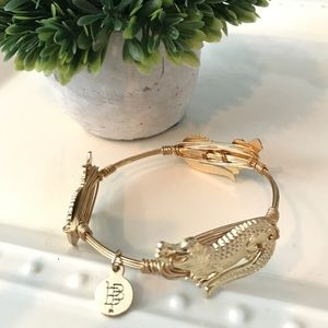 Bourbon and Bowties Gold Alligator Bangle